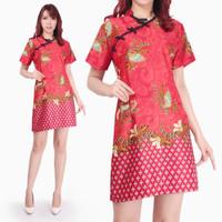 Dress Midi Cheongsam Mery Shortdress Batik Modern Wanita