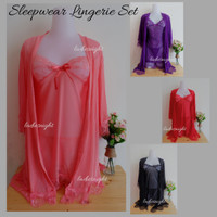 Sweet Peach Valeria Sexy Nightdress Lingerie Set -Inner Dress +Gstring