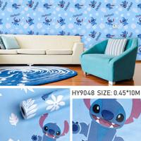 wallpaper sticker dinding motif Stitch daun biru 3D 10mx45cm