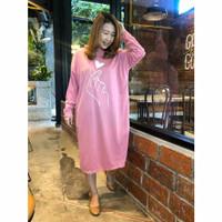 Long Dress Jumbo bigsize Hoodie Terusan Fashion Wanita Kekinian Korea