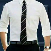Kemeja Pria Lengan Panjang Putih Polos Hem Kerja Cowok Baju Formal