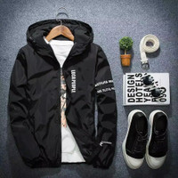 jaket tracksuit loca people original jaket running outdoor original - Hitam, M