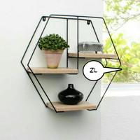 Rak Bunga Besi - Hiasan Dinding Hexagon - Rak Pot Bunga 3 susun