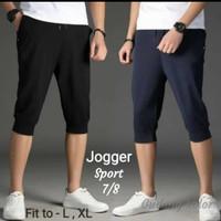 Celana jogger 7/8 Pria wanita   training Hitam Navy Polos L to XL