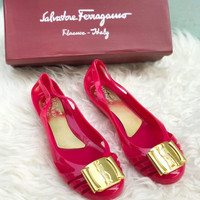 Sepatu Flat Jelly Solvatare Farregamo Import Free Box 5365 - Rose