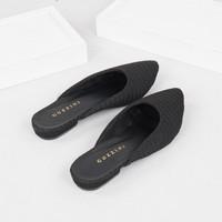 Guzzini FB 179 Hitam - Sandal Mules Kain Rajut wanita Fashion