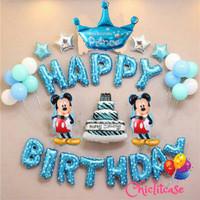 Set balon ulang tahun anak happy birthday biru mickey minnie disney