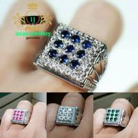 cincin batu stempel blue zircon (9 mata) high quality elegan