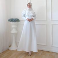 DRESS WHITE CAPE FIT TO L Gamis Cantik Wanita Sesuai Gambar Realpict