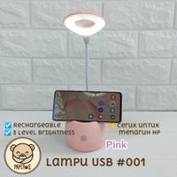Lampu USB / Lampu Meja / Lampu LED / Lampu Baca - Merah Muda