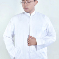 baju koko putih polos lengan panjang ukuran XL