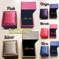 Kotak Box Tempat Perhiasan Cincin Couple Pasangan Kulit Pu Leather - Biru
