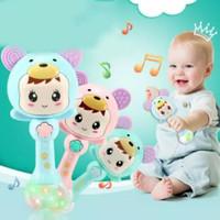 mainan bayi rattle teether musik lampu
