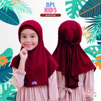 Jilbab bergo serut BPL kids Miulan kerudung anak Polos Marun 2-6TH