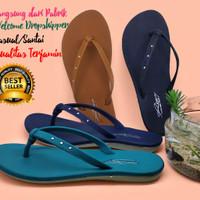 Sandal Jepit Wanita Flat Cantik Import [Limited Stock] - Hitam, 37