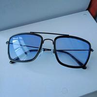 fashion kacamata vintage kotak besar model Tony stark lensa minus biru