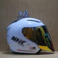 NHK R1 white visor Snail Gold
