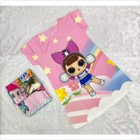 Dress anak scuba karakter lol surprise pink stars