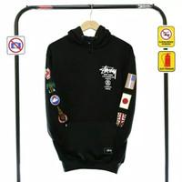 Jaket sweater stussy Brooklyn hitam premium/sweater hoodie pria murah