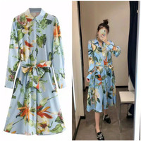 Dress bangkok floral ocean blue premium orginal impor
