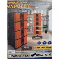 Lemari Plastik 5 Susun merk Napolly / Laci Rotan Naoplly SRS -5 AKI