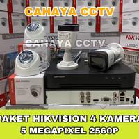 PROMO PAKET CCTV HIKVISION 4 CHANNEL 4 KAMERA 5MP 2560P KOMPLIT 500GB