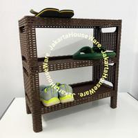 Rak Sepatu Plastik Motif Rotan Tabitha Susun 3