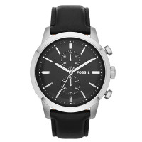 Jam Tangan Pria Fossil Townsman Chronograph Black Leather Watch FS4866