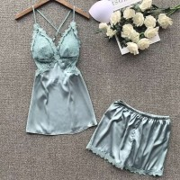 Piyama Wanita Camila Seksi Lingerie Set Cewek Silk Satin Baju Tidur HQ