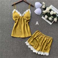 Baju Tidur Piyama Set Wanita 9922 Lace Sleepwear Cewek Lingerie Set