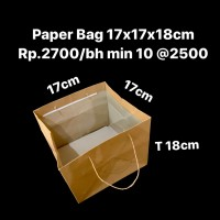 Paper Bag 17x17x18cm Coklat Polos Muat 2 Thinwall 1500ml