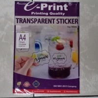 kertas stiker transparan a4