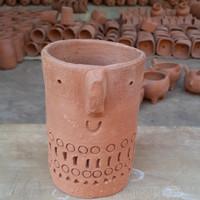 Pot gerabah kaktus dan sukulen mini motif wajah