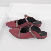 Guzzini FB 188 Maroon - Sandal Sepatu Mules Flat Wanita