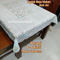 Taplak Meja Makan Plastik Putih Anti Air Waterproof Persegi 4-6 kursi