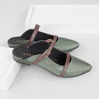 Guzzini FB 188 Hijau Olive - Sandal Sepatu Mules Flat Wanita