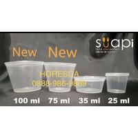 Tempat Saos Plastik 100 ML/Cup Sambal/Sauce Container Suapi @50 Pcs