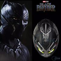 Helm Motor SNI KNC DMN Black panther black doff silver Jp-7