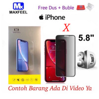 MAXFEEL Tempered Glass 3D Anti Spy AntiSpy Iphone X 10 Premium Glass