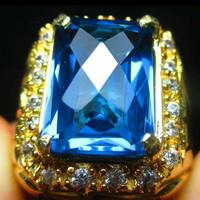 cincin batu permata blue topaz cutting