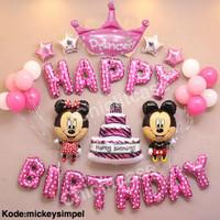 Set balon ulang tahun happy birthday mickey minnie disney