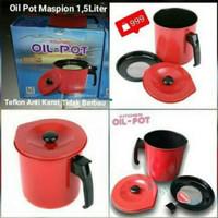 OIL POT MASPION 1.5 Liter WADAH MINYAK SISA SARINGAN PENYARING MINYAK