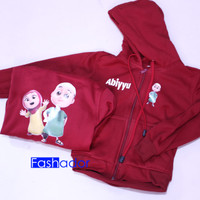 GRATIS NAMA Jaket Sweater Zipper Hoodie Anak/Dewasa NUSSA RARA.