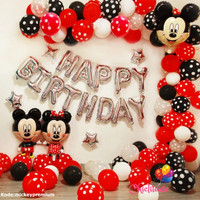 Set balon ulang tahun anak mickey happy birthday minnie disney