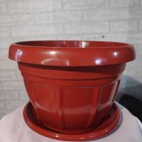 Pot bunga plastik SL Coklat 7522 + tatakan