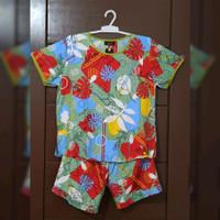 Piyama Katun Rayon Bunga Hijau Merah Size L - celana pendek