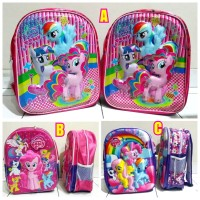 Tas ransel sekolah anak TK SD 3D timbul 3 D karakter My Little Pony