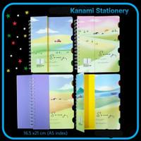 Notebook A5 Spiral 100 Lbr Index Buku Catatan Garis Cover Tebal.