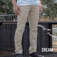 Celana Chino Panjang Slimfit berkualitas - Cream, 27