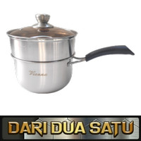 Panci Susu Steamer Tinggi Stainless Tebal Milkpot with Steamer 20 cm